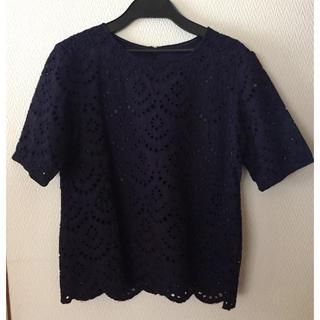 ジーユー(GU)のGU ジーユー   レースブラウス  ネイビー(シャツ/ブラウス(半袖/袖なし))