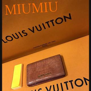 ミュウミュウ(miumiu)の正規品 美品 miumiu パスケース カード入れ(名刺入れ/定期入れ)