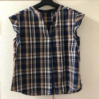 ジーユー(GU)のGU ジーユー ノースリーブシャツ ブラウス チェック(シャツ/ブラウス(半袖/袖なし))