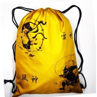 ナップサック 巾 着エコ バッグ 日本製 風神雷神図(光沢ゴールド)(バッグパック/リュック)