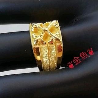 【K24】純金・24K・メンズリング・フリーサイズ・金運・豪華・高貴・招福・十字(リング(指輪))