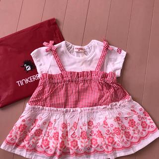 ティンカーベル(TINKERBELL)の未使用タグ付き Tシャツ付きキャミワンピース 80センチ(ワンピース)
