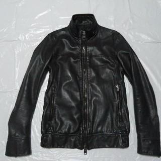 シップス(SHIPS)の希少◆シップス 羊革 レザージャケット 濃灰 S◆M-65 ライダース革ブルゾン(レザージャケット)