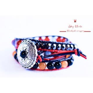 ラップブレス(赤メノウ×ルナフラッシュ×オレンジキャッツアイ×黒パール(ブレスレット/バングル)