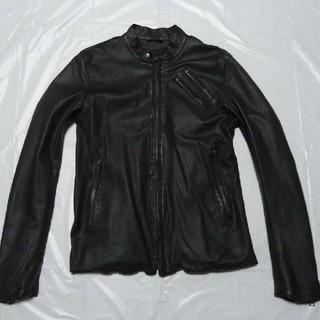SHIPS - 美黒 美細 美品◆シップス 羊革 レザージャケット 黒 M◆ライダース革ブルゾン