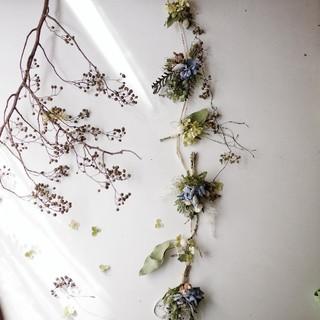 秋色紫陽花のガーランド(ドライフラワー)