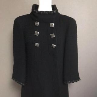 シャネル(CHANEL)の美品♡  CHANEL  ツイード ロング コート  36  黒(ロングコート)