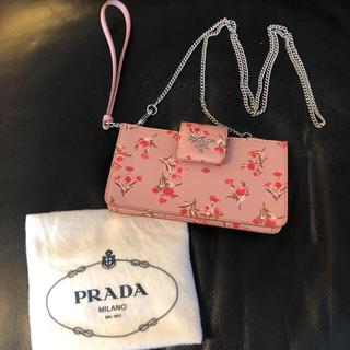 プラダ(PRADA)の美品 プラダ バッグ ポーチ クラッチ  iPhonex  花柄 ピンク(クラッチバッグ)