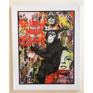 71-バンクシー(banksy)キャンバス/アート/落書き/チンパンジー(ボードキャンバス)