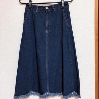 メルロー(merlot)のフリンジデニムスカート(ひざ丈スカート)