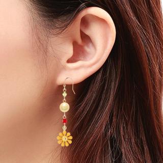黄色いお花とコットンパールのピアス 14金(ピアス)