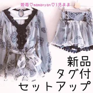 リズリサ(LIZ LISA)の新品タグ付♡秋♡セットアップ♡ローズ♡チェック♡オーガンジー♡リボン♡セット♡(ミニワンピース)