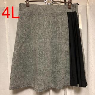 新品未使用)サイドプリーツ台形スカート 4L(ミニスカート)