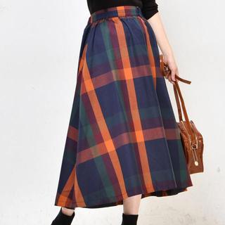 ナチュラルクチュール(natural couture)のnatural couture BIGチェックフレアスカート(ロングスカート)
