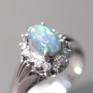 トクトクジュエリー ブラックオパール ダイヤモンド プラチナリング(リング(指輪))