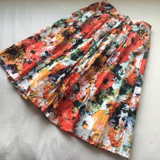 リランドチュール(Rirandture)の水彩系 花柄 スカート 鮮やか カラフル 花柄 ボタニカル 白地 フレア ミモレ(ロングスカート)