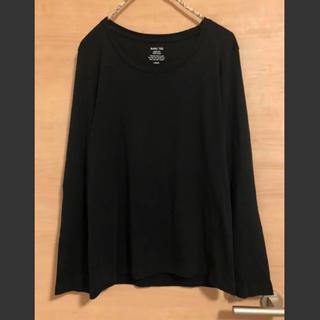 ジーユー(GU)のGU ロングTシャツ 長袖トップス 黒(Tシャツ(長袖/七分))