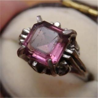即購入OK♡V038パープルストーンスクエア紫シルバーカラーリングヴィンテージ(リング(指輪))