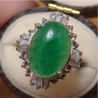 即購入OK♡V059昭和レトロ翡翠のようなシルバーカラーリングヴィンテージ指輪(リング(指輪))