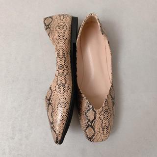 【キラママ様専用】Python flat shoes /beige XL(バレエシューズ)