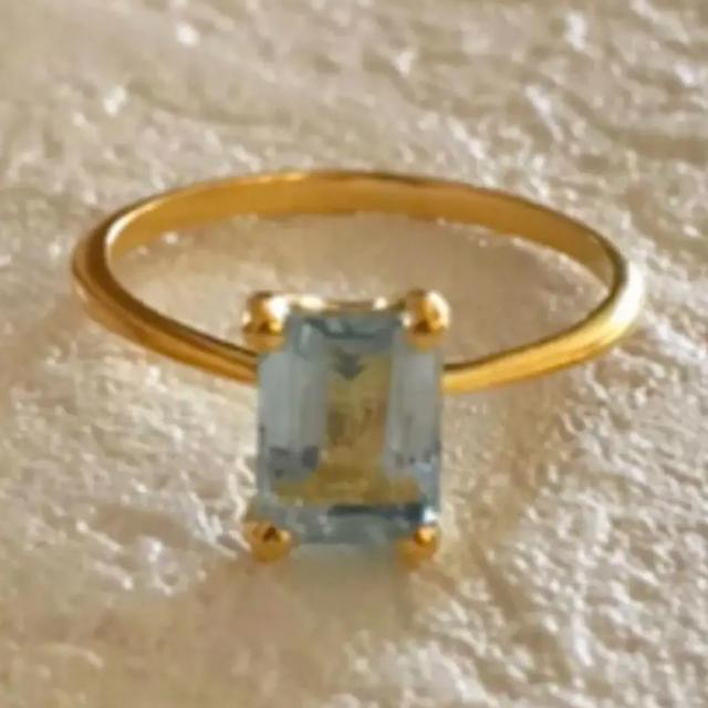 ブルートパーズ ゴールドプレートリング シルバー925インドジュエリー  レディースのアクセサリー(リング(指輪))の商品写真