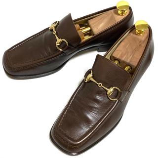 グッチ(Gucci)のGUCCI 38 C ホースビットローファー レディース ブラウン スクエアトゥ(ローファー/革靴)