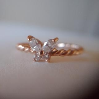 K18PG ダイヤモンド バタフライ リング(リング(指輪))