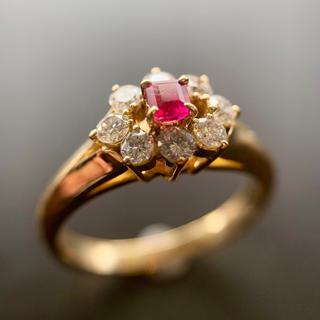 「レッドベリル」18金イエローゴールド指輪!本日のみの出品です!(リング(指輪))