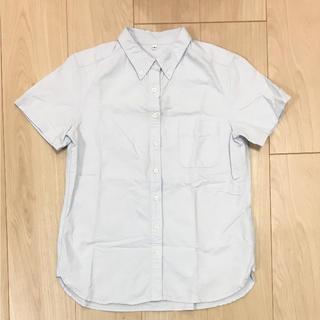 ムジルシリョウヒン(MUJI (無印良品))の新品未使用 無印良品 コットン半袖シャツ 水色(シャツ/ブラウス(半袖/袖なし))