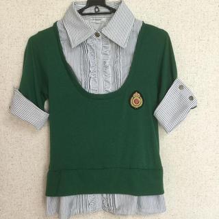 シマムラ(しまむら)の1枚でシャツブラウスとカットソー  ストライプ×グリーン緑(シャツ/ブラウス(半袖/袖なし))