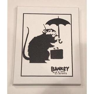 76-バンクシー(banksy)キャンバス/アート/落書き/ネズミ/mouse(ボードキャンバス)