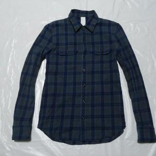 アタッチメント(ATTACHIMENT)の日本製 美品◆アタッチメント シャツ 青灰黒柄 1◆ジャケット カットソー(シャツ)