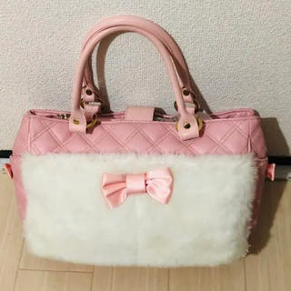 リズリサ(LIZ LISA)のピンクのリボンファーバッグ/コケティッシュティアラ(ハンドバッグ)