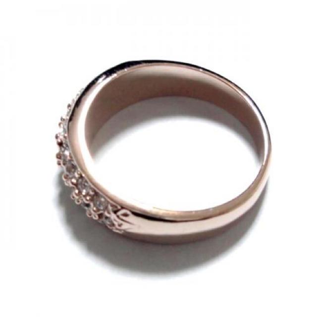 17号 パヴェ スワロフスキー ピンクゴールドリング レディースのアクセサリー(リング(指輪))の商品写真