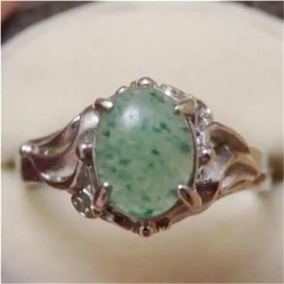 即購入OK♡V076昭和レトログリーンストーンのシルバーカラーリングヴィンテージ(リング(指輪))