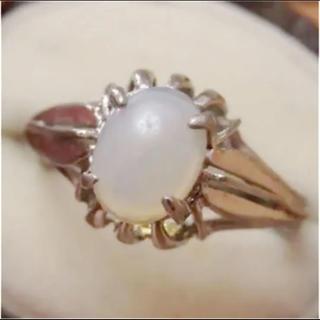 即購入OK♡V058昭和レトロオパール調シルバーカラーリングヴィンテージ指輪(リング(指輪))