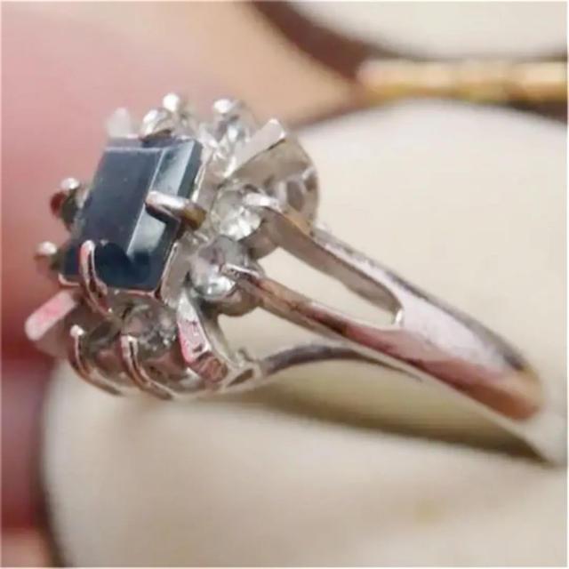 即購入OK●V007ブルーのお石ヴィンテージ昭和レトロシルバーカラーリング指輪 レディースのアクセサリー(リング(指輪))の商品写真