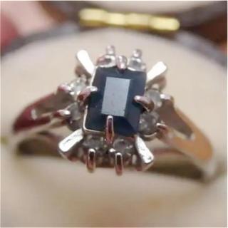即購入OK●V007ブルーのお石ヴィンテージ昭和レトロシルバーカラーリング指輪(リング(指輪))