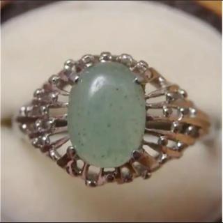即購入OK♡V071昭和レトログリーンストーンのシルバーカラーリングヴィンテージ(リング(指輪))