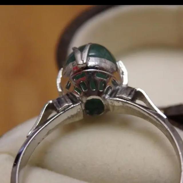 即購入OK♡V073昭和レトログリーンストーンのシルバーカラーリングヴィンテージ レディースのアクセサリー(リング(指輪))の商品写真