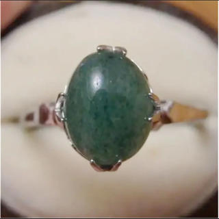 即購入OK♡V073昭和レトログリーンストーンのシルバーカラーリングヴィンテージ(リング(指輪))