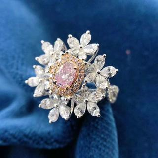 GIA付豪華なお花のピンクダイヤモンドリング(リング(指輪))