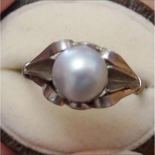 即購入OK●V012グレーパールの昭和レトロシルバーリング指輪(リング(指輪))