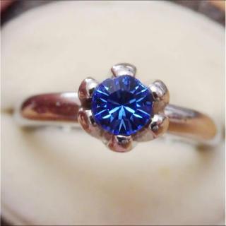 即購入OK●V011ヴィンテージ一粒ブルーストーンシルバーカラーリング指輪(リング(指輪))