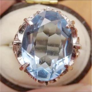 即購入OK♡V056昭和レトロライトブルーシルバーカラーリングヴィンテージ指輪(リング(指輪))