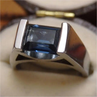 即購入OK♡サファイアのようなお石のシルバーカラーリング指輪ヴィンテージ(リング(指輪))