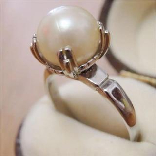 即購入OK●V030一粒パール調のシルバーカラーリング指輪ヴィンテージ(リング(指輪))