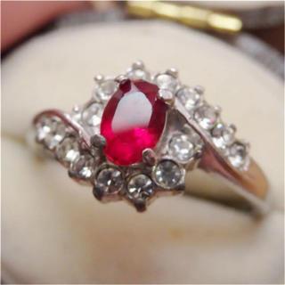 即購入OK♡V037レッドストーン昭和レトロリング指輪ヴィンテージ(リング(指輪))