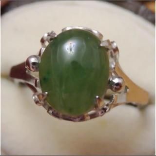 即購入OK♡V063昭和レトロ翡翠のようなシルバーカラーリングヴィンテージ指輪(リング(指輪))