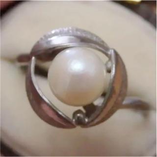 即購入OK♡V052昭和レトロパールシルバーカラーリングヴィンテージ指輪(リング(指輪))